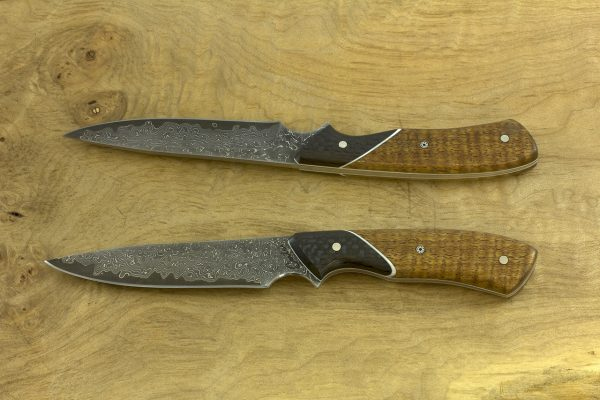 *LIMITED* 198mm Freestyle Neck Knife, Damascus, Carbon Fiber / Mango Tree - 74grams