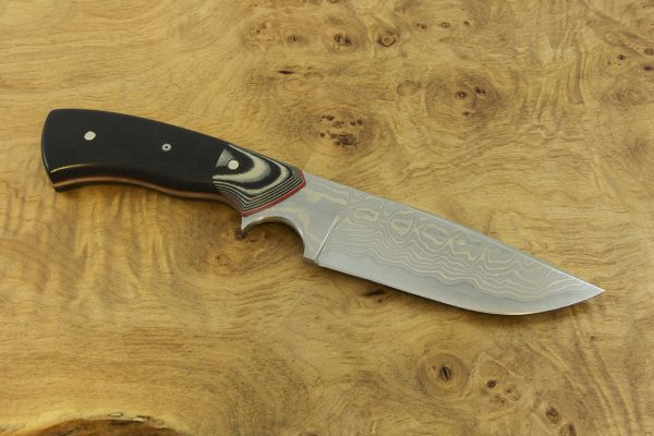 201mm Freestyle Neck Knife, Damascus, G-10 / Micarta - 131grams