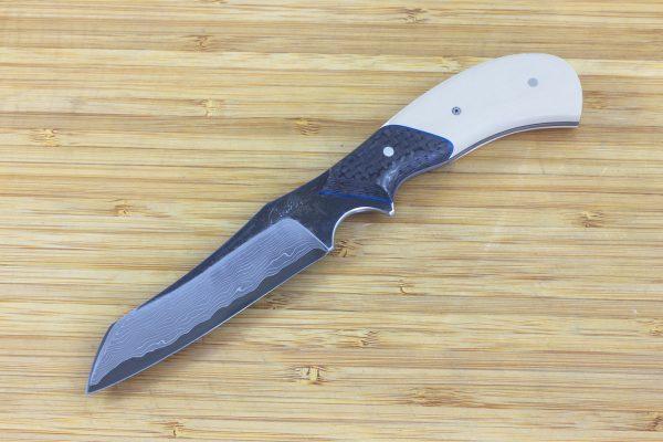 197mm G Series Prototype Neck Knife #5, Damascus, Paper Micarta / Carbon Fiber - 101grams