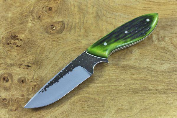 191mm Murray's 'Perfect' Model Neck Knife, Hammer Finish, Green Jig Bone - 121grams