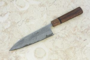 5.38 sun High Grade Series Freestyle Funayuki, Damascus, Ironwood w/ Spalted Maple Bolster - 120 grams