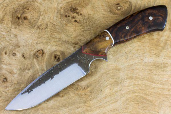 195mm Aviator Neck Knife, Hammer Finish, Ironwood / Burl - #17