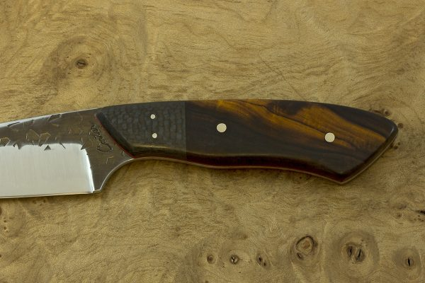 197mm Kajiki Knife, Hammer Finish, Carbon Fiber / Ironwood - 119grams
