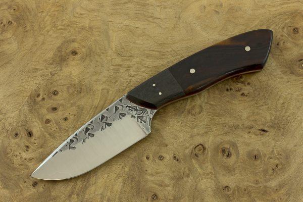 196mm Kajiki Knife, Polished Hammer Finish, Carbon Fiber / Ironwood - 120grams