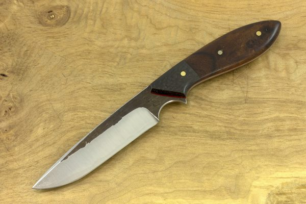210mm Long Original Neck Knife, Hammer Finish, Carbon Fiber / Ironwood - 103grams
