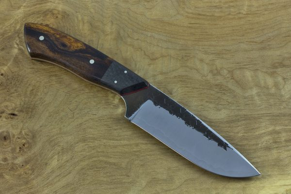 218mm 'Long' Kajiki Knife, Hammer Finish, Carbon Fiber and Ironwood - 138grams