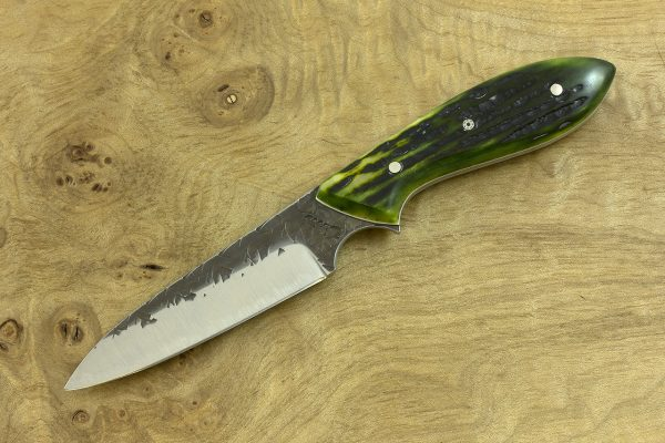 189mm Wharncliffe Brute Neck Knife with Modified Blade, Hammer Finish, Green Jig Bone - 89grams