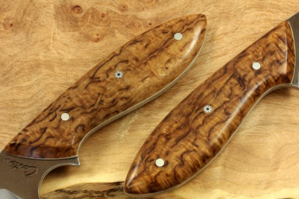"""188mm Murray's """"Perfect"""" Model Neck Knife, Forge Finish, Stabilized Birch"""