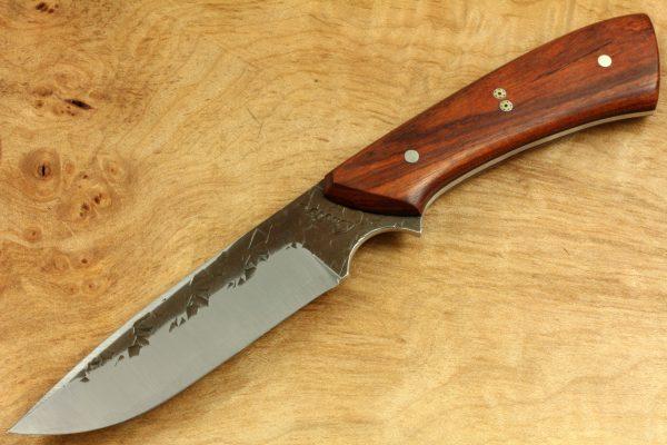 190mm Aviator Neck Knife, Hammer Finish, Stabilized Hardwood, 84grams