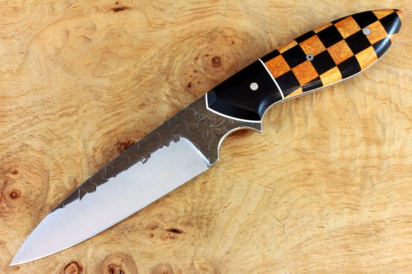 201mm Modified Wharncliffe Pointy Neck Knife, Hammer Finish, Checkered Flag - 102grams