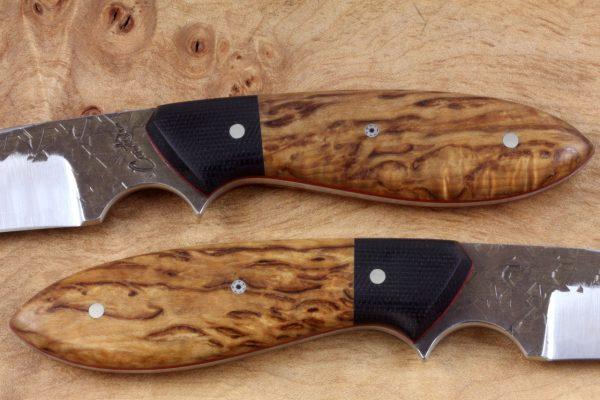 212mm Long Original Neck Knife, Hammer Finish, S. Burl/Micarta, 111grams