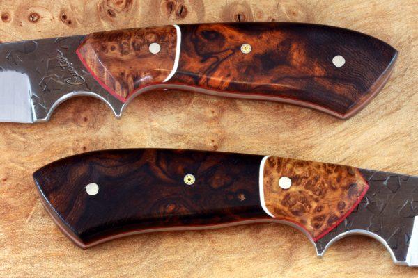 188mm Aviator Jr. Neck Knife, Hammer Finish, Premium Ironwood / Burl - #16