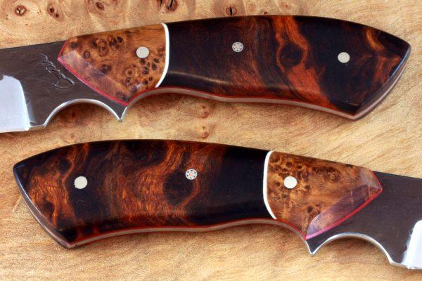 201mm Aviator Neck Knife, Hammer Finish, Premium Ironwood / Burl - #14