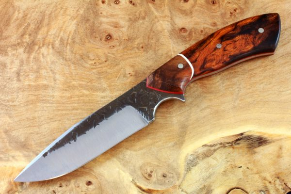 196mm Aviator Neck Knife, Hammer Finish, Premium Ironwood / Burl - #2