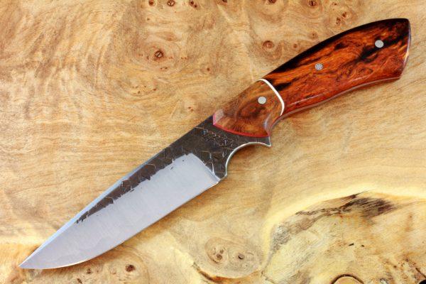 197mm Aviator Neck Knife, Hammer Finish, Premium Ironwood / Burl - #3