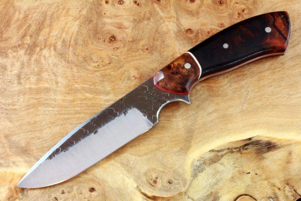 194mm Aviator Neck Knife, Hammer Finish, Premium Ironwood / Burl - #4