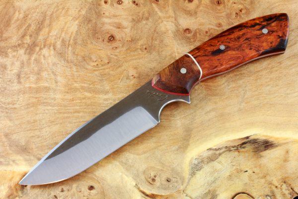 195mm Aviator Neck Knife, Hammer Finish, Premium Ironwood / Burl - #5