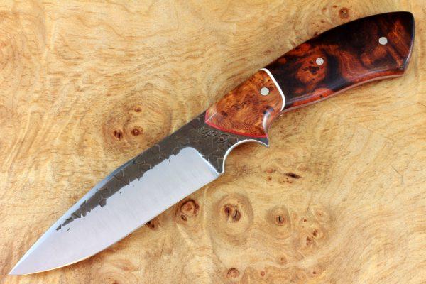 204mm Aviator Neck Knife, Hammer Finish, Premium Ironwood / Burl - #6