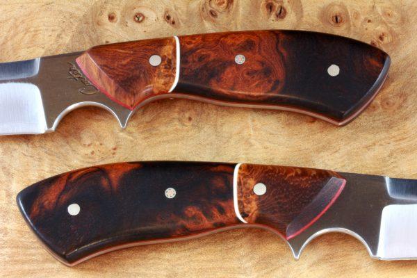 205mm Aviator Neck Knife, Dagger Grind, Premium Ironwood / Burl - #8