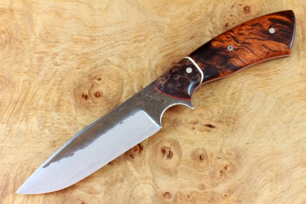 206mm Aviator Neck Knife, Hammer Finish, Premium Ironwood / Burl - Prototype