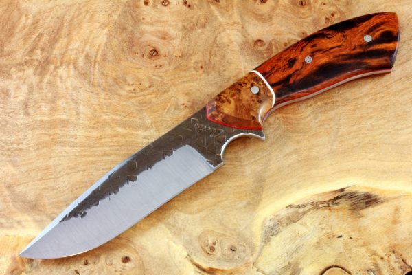 199mm Aviator Neck Knife, Hammer Finish, Premium Ironwood / Burl - #1