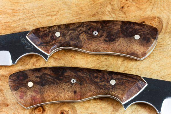 205mm Mod. Wharncliffe Pointy Neck Knife, Kuro-uchi Finish, Stabilized Burl - 79grams