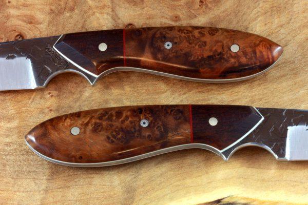 182mm Original Neck Knife, Hammer Finish, Stabilized Burl / Ironwood - 77grams