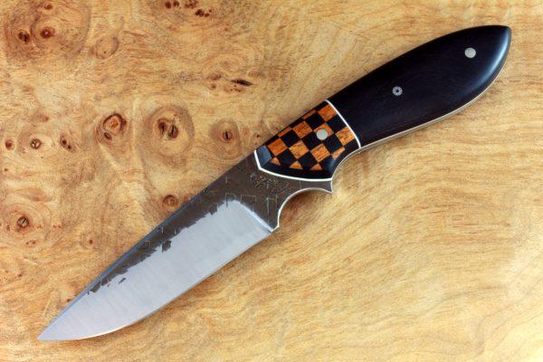 "188mm Murray's ""Perfect"" Model Neck Knife, Hammer Finish, Ironwood / Checkered Flag - 87grams"