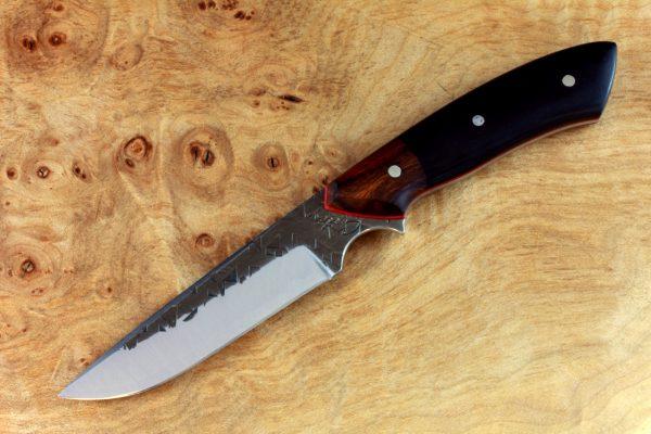 182mm Tactical Neck Knife, Hammer Finish, Black Laminate / Ironwood - 75grams