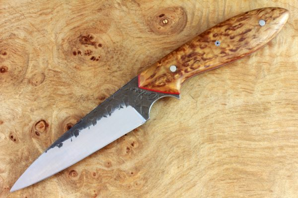 190mm Wharncliffe Pointy Neck Knife, Hammer Finish, Stabilized Birch - 80grams