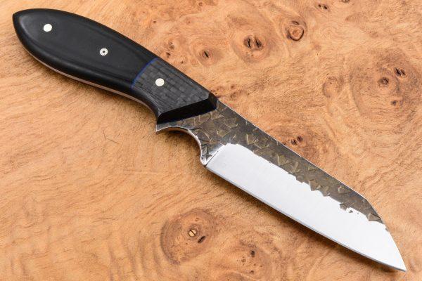 192mm Wharncliffe Brute Neck Knife - Hammer Forge Finish - Black Linen Micarta / Carbon Fiber