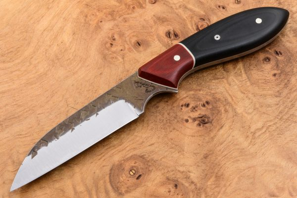 185mm Wharncliffe Neck Knife - Hammer Forge Finish - Red & Black Micarta