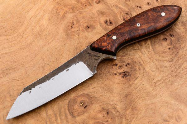 194mm Wharncliffe Brute Neck Knife - Hammer Forge Finish - Stabilized Burl / Black Micarta