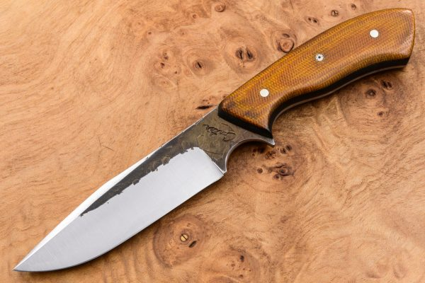 197mm Aviator Neck Knife - Hammer Forge Finish - Coffee Jelly