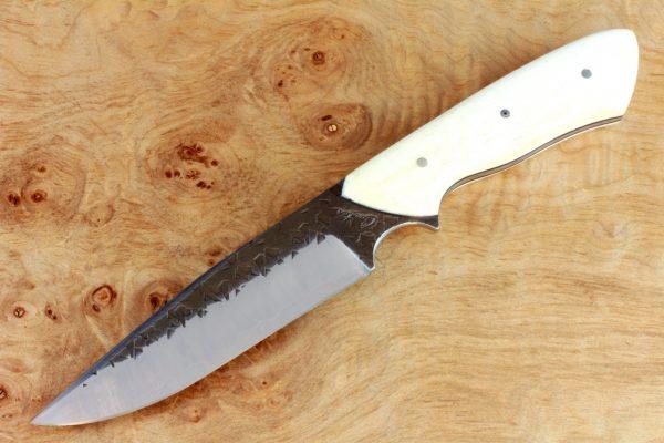 238mm Outdoor Camp Knife, Hammer Finish, Bone - 172grams