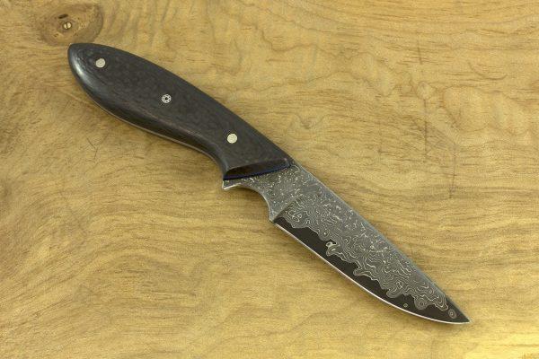 177mm Original Neck Knife, Damascus, Carbon Fiber - 74grams