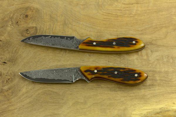 178mm Original Neck Knife, Damascus, Amber Jig Bone - 80grams