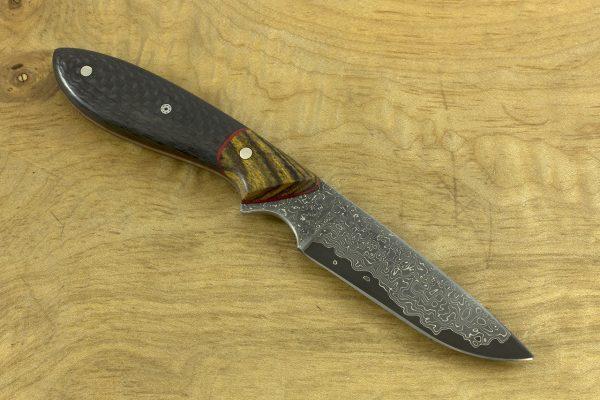 177mm Original Neck Knife, Damascus, Bocote / Carbon Fiber - 63grams