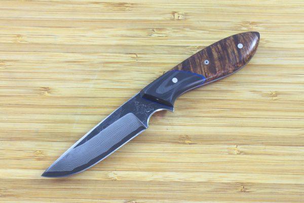 180mm Original Neck Knife, Damascus, Carbon Fiber / Burl - 84grams
