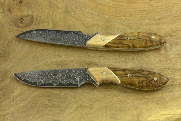 178mm Original Neck Knife, Damascus, Maple / Birch - 71grams