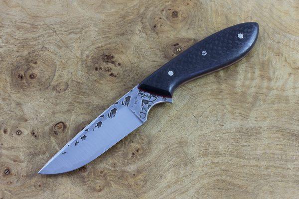 179mm Original Neck Knife, Polished Hammer Finish, Carbon Fiber - 78grams