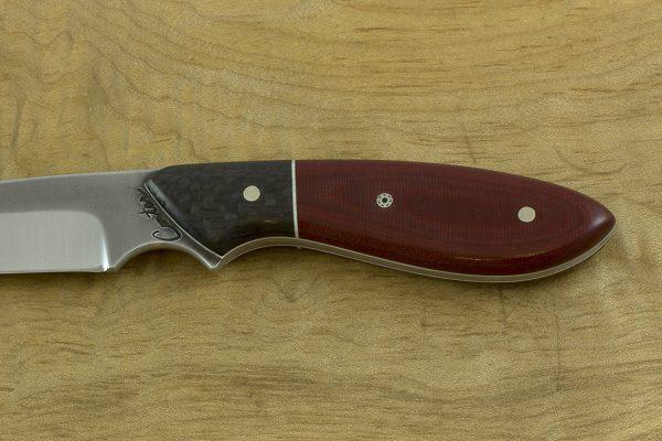 179mm Original Neck Knife, Forge Finish, Carbon Fiber / Red Micarta - 73grams