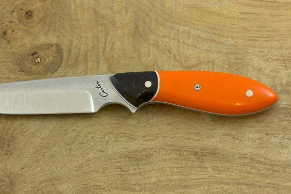 170mm Compact Original Neck Knife, Forge Finish, Orange / Black G10 - 67grams