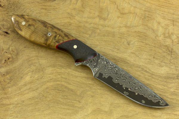 177mm Original Neck Knife, Damascus, Carbon Fiber / Birch - 72grams