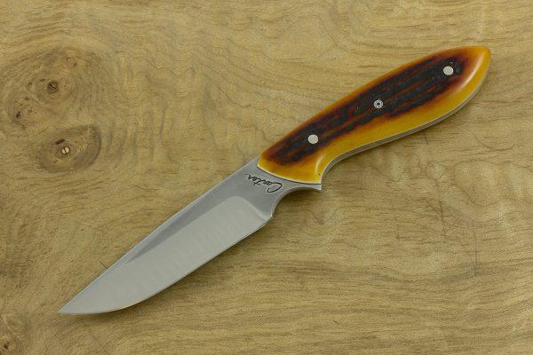 181mm Original Neck Knife, Forge Finish, Amber Jig Bone - 86grams