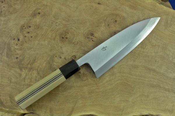 184mm Shiro-ko Kasumi Deba #24, Satin Finish - 300grams