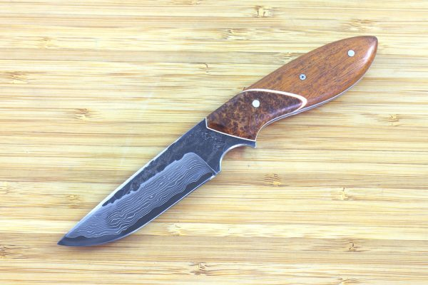 190mm Murray's 'Perfect' Neck Knife, Damascus, Osage / Burl - 98grams