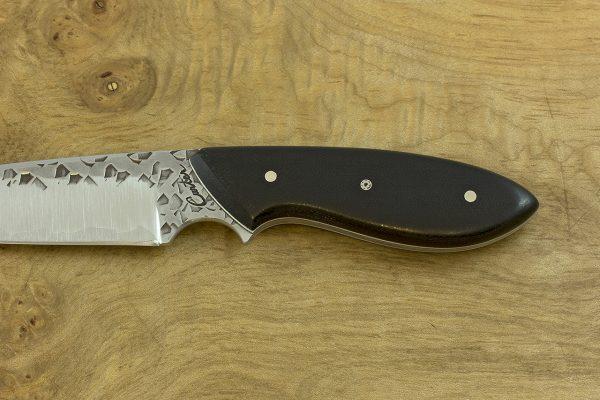 194mm Murray's 'Perfect' Model Neck Knife, Hammer Finish, Black Micarta - 106grams