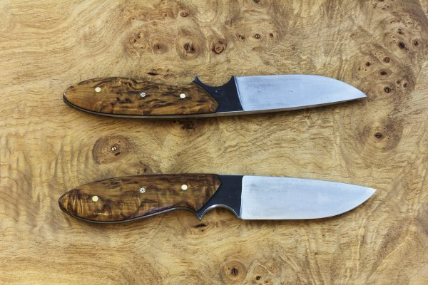 189mm Perfect Model Neck Knife, Wrought Iron, Stabilized Birch - 100grams