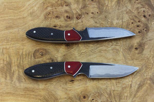 191mm Perfect Model Neck Knife, Wrought Iron, Red Micarta / Carbon Fiber -98grams